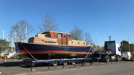 Lifeboat Louisa Heartwell being transported by road to Poole, Dorset in 2020