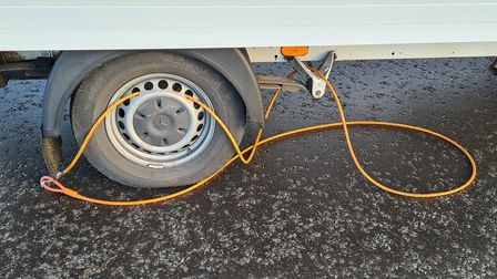 van stopped on a14 for being overweight