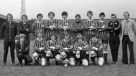 FOR FLASHBACK JAN 10 11.The Suffolk football team at Portman Road, Ipswich in April 1979EADT