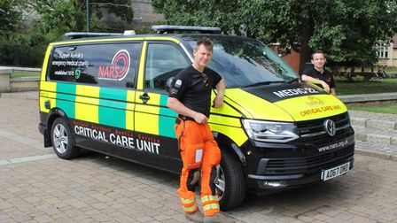 NARS team members Doctor Jamie Crawford and Chris Neil with the service'scritical care unit.