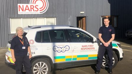 Pat Seaman and Ben Hawkins from NARS with a first responder car. Picture: NARS