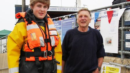 Barry Clarke, one of the founders of the Sea Palling lifeboat, is pictured with his grandson Jack Cl