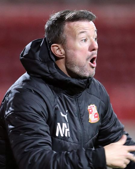 Swindon Town coach Noel Hunt during the Sky Bet League One match at the Energy Check County Ground,