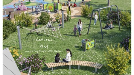 An artist's impression of the new play area at Alexandra Park in Ipswich