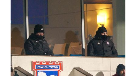 Town manager Paul Lambert (left) watching the game with Ipswich Town general manager of football ope
