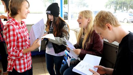 Students from Flegg High School in Martham with their GCSE results.Picture: James Bass