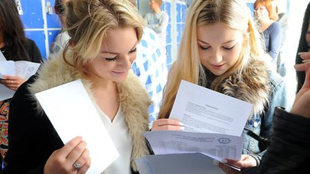 Students from Caister High School with their GCSE results.Picture: James Bass
