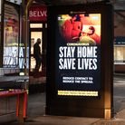 Stay Home Save Lives advert at an Ipswich bus stop. Picture: SARAH LUCY BROWN