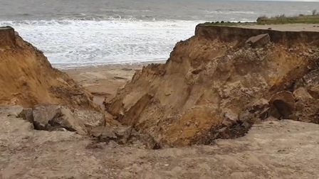 A cliff fall at Happisburgh which was first noticed in November last year has expanded.