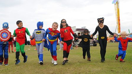 Cromer Carnival parade 2014. A group of young super heroes.Picture: ANTONY KELLY