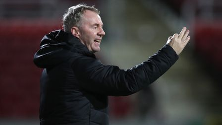 Swindon Town manager John Sheridan during the Sky Bet League One match at the Energy Check County Gr