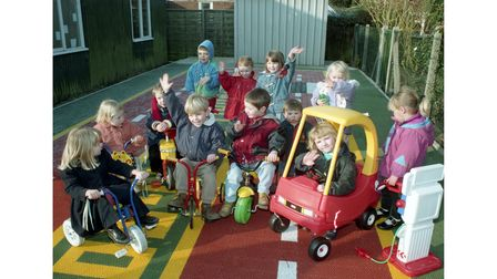 A new safety play area at Knodishall playgroup centre in February 1996