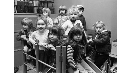 Children from Lavenham playgroup at their new home in February 1983