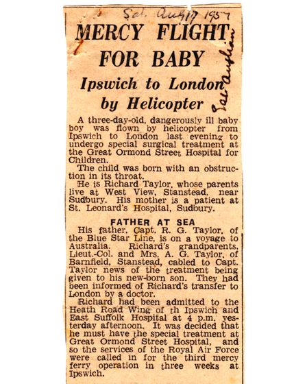 A clip of the East Anglian Daily Times newspaper article from August 1957, reporting on Richard's birth