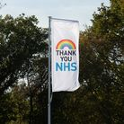 A flag at one of Barratt and David Wilson Homes' developments to thank NHS employees