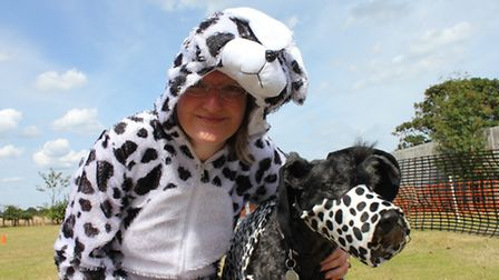Stephanie Adams and her Kerry blue terrier Parker dressed up as dalmations at Sheringham carnival's