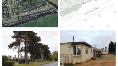 Aerial shot, lay-out plans, and existing site entrance and mobile home. Composite photo of the proposals rejected by...