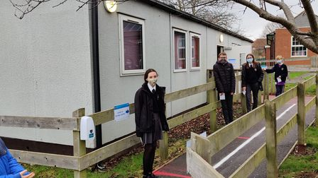 Exmouth Community College students queuing to get tested