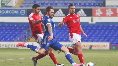 James Norwood in action during the Blues 3-2 defeat against Swindon Town at Portman Road Photo: Ross
