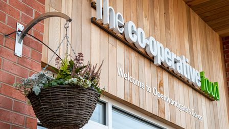 Wooden Co-op sign with hanging plant