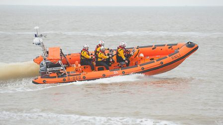 Southwold RNLI station with its new lifeboat named the Annie Tranmer out at sea.Picture: James Bass