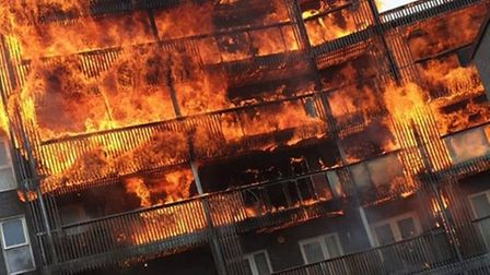 The blaze engulfed six floors of the block of flats. Picture: @mobee_me /PA Wire