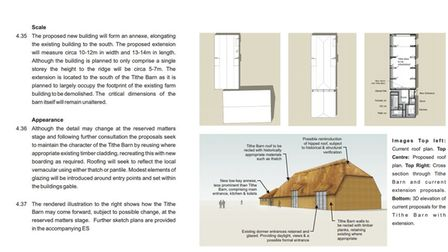 An imaginative visualisation of how Tithe Barn could be restored.