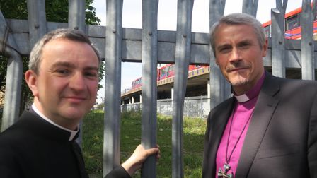 Father Richie and Bishop Newman at Cable Street in 2018 blessing disused TfL land to be used for housing