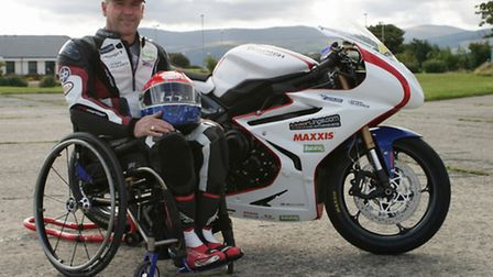 Phil Armes with the Triumph Daytona 675 he had hoped to ride on the Isle of Man TT parade lap. Photo