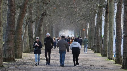 Walkers not adhering to social distancing in a park