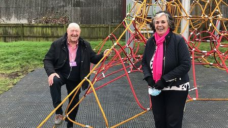 Cllr Peter Murphy and Cllr Dee Laws at Snowley Park play area.