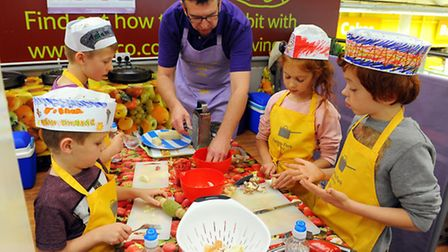 Farm to Fork educational cookery lessons at the Tesco store in Great Yarmouth.Childrens Food Trust t