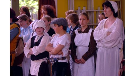 Pupils at Capel St Mary School taking part in a Tudor day in 2006