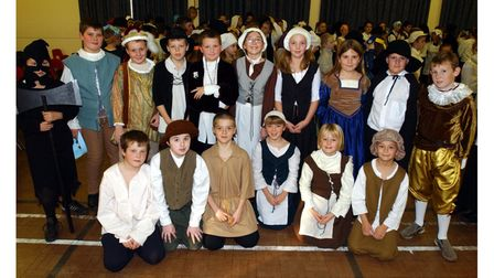 Pupils from Cliff Lane Primary School in Ipswich dressed to take part in Tudor Day at the school in 2003
