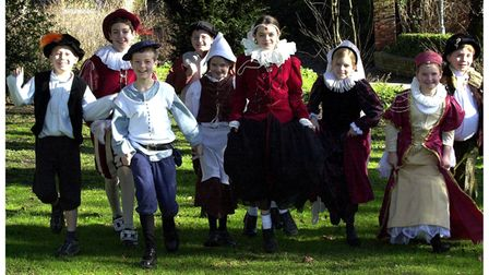 Children dressed for Tudor Day at St Louis RC Middle school in Bury St Edmunds inFebruary 2001