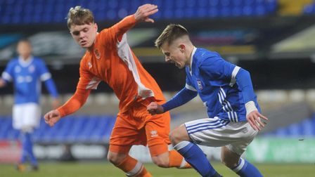 Under U18 Ipswich Town FC v U18 Blackpool FC. Ben Knight in action for Town. Picture : SARAH LUCY