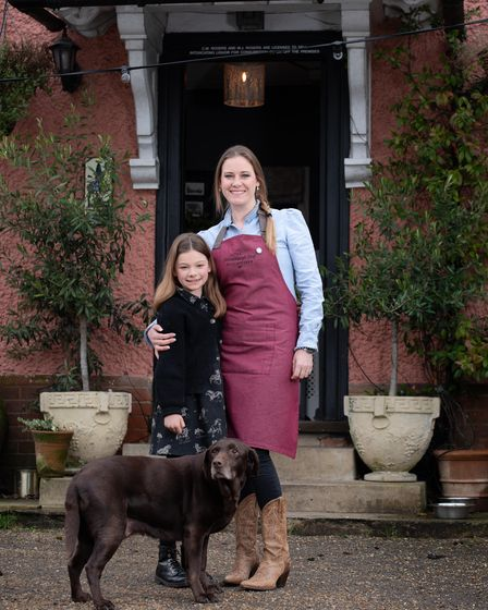 Eilir Rogers pictured with her daughter Amelie and their dog Missy Moo at the Grundisburgh Dog