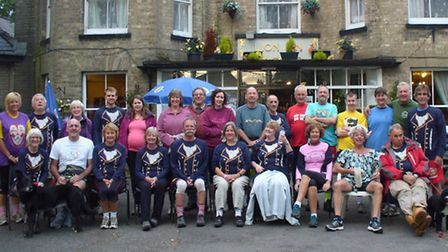 Past and present members of the Norfolk Hash House Harriers celebrate the club's 30th anniversary.