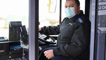 Bus driver, Leon Lambert, working through Lockdown 3 at the First Bus depot in Roundtree Way. Pictur