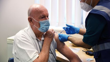 John Stedman aged 82 from Lavenham getting his covid vaccination Picture: CHARLOTTE BOND