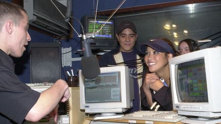 Myleene & Noel, from Hear'Say, with presenter Simon Rowe during a visit to the KLFM studio in Kin