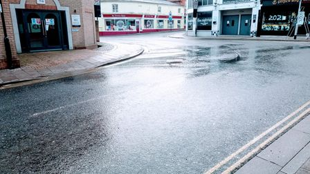 People described water coming up through the road