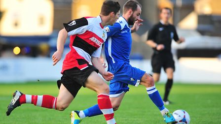 Action from Lowestoft Town's 2-0 win against Solihull Moors at Crown Meadow, with Chris Henderson on
