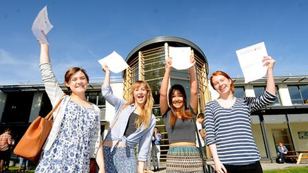 A-Level results day 2014. Paston College, North Walsham. Left to right, Joanne McGarva, Eloise Heath