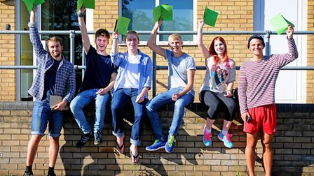 A-Level results day 2014. Sheringham High School sixth formers, left to right, Aaron Perry, Liam Cha