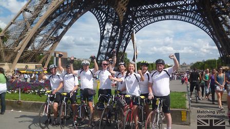 The eight strong group that cycled from London to Paris. L-r: Gareth Edwards, Chris Morley, Richard