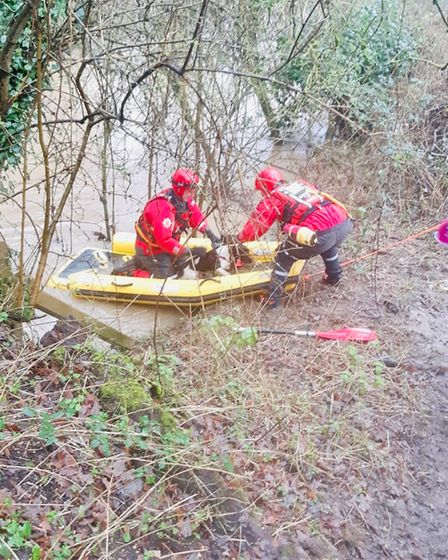 Barney being rescued by crews from Halstead Fire Station and theUrban Search and Rescue Service