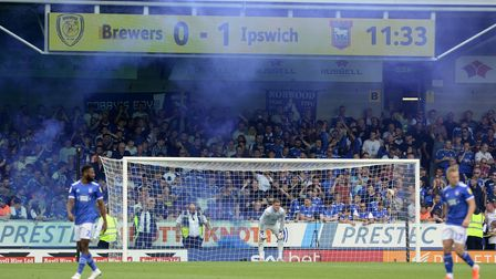 Ipswich fans celebrate with pyros at The Pirelli Stadium Picture Pagepix