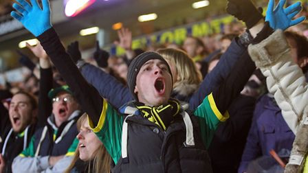 Picture by Paul Chesterton/Focus Images Ltd +44 7904 64026718/01/2014The Norwich fans celebrate thei