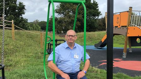 Town and district councillor Fred Caygill at the revamped Brixington play park.